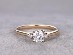Moissanite Diamond Engagement Rings Yellow Gold 14k/18k 0.5 Carat 3 Stones Promise Ring