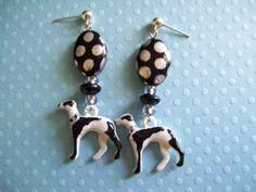 Black N White Whippet Greyhound Polka Dot by GreyhoundCleyhounds, $7.95