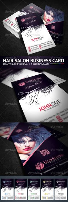 Creative Hair Salon Business Card  Included all objects.  Features  5 Color Variations Fully editable 3.5×2 inch Photoshop CS or Higher 300 DPI CMYK Colors Print Ready Highly Organised Layers Clean Design