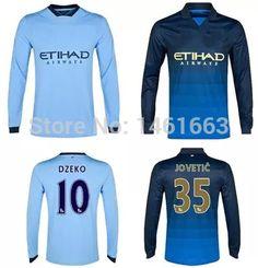 Find More Sports Jerseys Information about Hot 14 15 nova temporada  manchester city manga longa 3a+++ futebol tailandes melhor qualidade  personalizar camisa ... c1ad112bddeb3