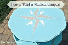 How to Paint a Nautical Compass on Table. Another example here: http://www.completely-coastal.com/2013/01/table-makeovers.html