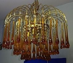 Beautiful Mid Century Large Drop Italy Murano Glass Ceiling Lamp