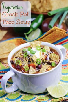 This super simple Vegetarian Taco Soup Crock Pot Recipe is the perfect weekday meal. Hi guys! You know if something has taco in the title, I'm going to love it. And this