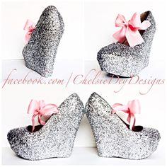 Glitter Wedge High Heels Silver Pump Platform Shoes Light Pink Satin... ($78) ❤ liked on Polyvore featuring shoes, pumps, silver, women's shoes, high heel shoes, silver wedding shoes, silver wedge shoes, high heel pumps and wedge shoes