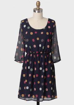 Cute polka dot dress with sheer sleeves