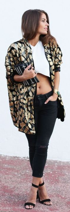 Gold And Black Sequin Patterned Oversize Jacket by Seams For a Desire