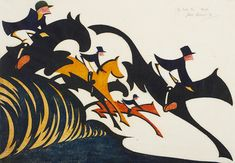 Sybil Andrews, In Full Cry. Linocut, 1931. The red, yellow and black horses capture the feelings experienced, rather than the sights seen
