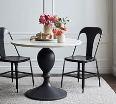 Shop Pottery Barn for expertly crafted small dining room furniture. Find small dining tables, chairs and more perfect for a small space or apartment. Marble Bistro Table, Round Pedestal Dining Table, Oval Coffee Tables, Dining Table Design, Dining Tables, Dining Room, Round Foyer Table, Round Marble Table, Bistro Tables