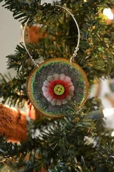 recycled felt wool penny ornament
