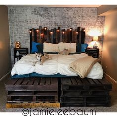 King Size Pallet Bed and Headboard - DIY Rustic Industrial