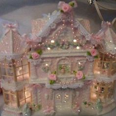 Make using she's shabby-pink-victorian-christmas-lighted-village-large-house-chic-roses-glitter Shabby Chic Christmas, Victorian Christmas, Vintage Christmas, Rose Shabby Chic, Shabby Chic Crafts, Noel Christmas, Christmas Crafts, Christmas Ornaments, Christmas Mantles