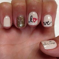 Love valentines gel nail art