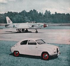 The car: SAAB 93b. The aircraft: SAAB 32 Lansen. Saab 32 Lansen first flew November 3, 1952 and from  1955 to 1960 delivered 447 pieces for the Swedish Air Force.  They were in active service until 1978, a few flies to this day at times.  Between September 1957 and August 1959, it was built 29 830 Saab 93B.  Unlike its predecessor, the Saab 93 by the B-model, full windshield and  turn signal lamps instead of arrows, improved seats and a lockable glove box.