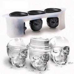 Skull Shape Ice Mould Set Silicone Ice Cube Tray Ijsblokjes Vormen Home Kitchen Tool Gadget Silicone Ice Molds, Ice Cube Molds, Ice Cube Trays, Ice Cubes, Ice Tray, Skull Head, Skull Art, Whisky Cocktail, Skull Fashion