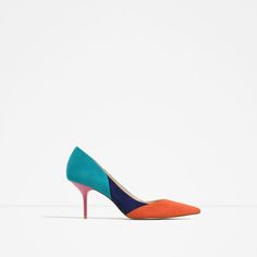 Image 1 of CONTRAST LEATHER HIGH HEEL SHOES from Zara