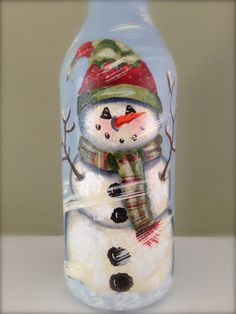 Snowman Wine Bottle Hand Painted by DapperWrappers on Etsy