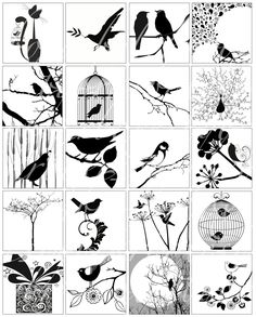 20 black and white black & white bird silhouettes printable by boxesbybrkr on Etsy Vogel Silhouette, Bird Silhouette, Bird Crafts, Resin Crafts, Illustrations Vintage, Wood Burning Patterns, Paper Craft Supplies, Kirigami, Digital Collage