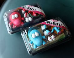 Little creatures in sushi containers. Adorbs.