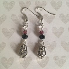Lantern Earrings - Tibetan Silver - Black & Purple Beads by BohemianHeartery on Etsy