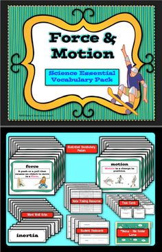 $Science vocabulary is essential for building knowledge concepts.  This pack contains 35, FORCE & MOTION science terms that students need as they explore and deepen their understanding in this area of science. This printable pack contains full color, illustrated Force & Motion Vocabulary Posters, Word Wall Words, Note Taking Tools, Student Mastering Matter Flashcards, Task Cards and a Bonus File Folder Game. The complete set contains 91 pages and will be a valuable time saver.