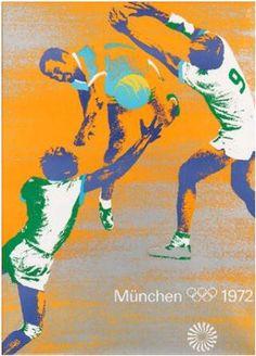 Munich 1972 Summer Olympics - Handball poster. Design by Otl Aicher