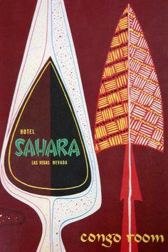 Vintage Hotel Sahara, Vegas menu cover for the Congo Room