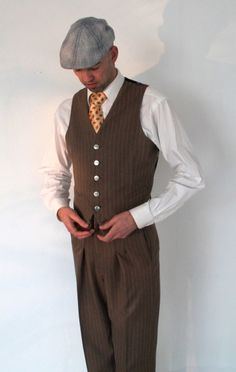 1930s mens clothing -handmade vest - Vintage style waistcoat for on high waisted pants. 1930's and 1940's style trousers or swing pants are higher in the waist than modern pants. This vest compliments that look perfectly and shows of the high waist. flower pattern a the back is a nice feature. You can choose either the flowers, or a nice bronze tafta for the back. The waistcoat has two welt pockets at the front and closes with 5 buttons, a 6 th button is added just for the looks.At the back…