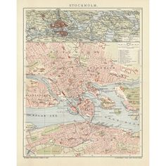 Stockholm - vintage map reproduction. Handmade paper print. Old map of Stockholm.