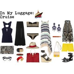 In My Luggage: Cruise, created by whoisash / What I would pack for a cruise  / Resort look outfits in simple, chic style that are easy to mix & match.  Navy, Red, Black, Yellow