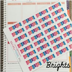 Brights Day Off Banner Stickers for Erin Condren Life Planner/Happy Planner - set of 32