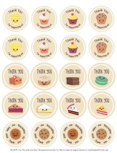 FREE Printable Cupcake, Cake and Cookie Thank You Labels