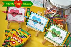 Color Me HAPPY Valentines- cute valentines but ALSO like the idea of all the crayons in a big jar ;p haha