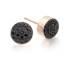 Pave Stud Earrings in 18ct Rose Gold Plated Vermeil on Sterling Silver with Black Spinel