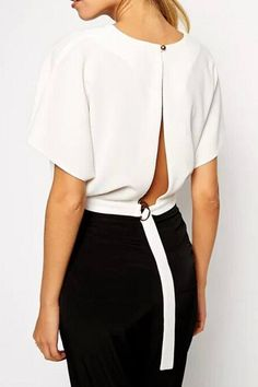 6439dc6569f4dd White High Fashion Back Slit Crop Blouse - OASAP.com