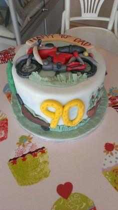Motorbike and gardening themed cake.