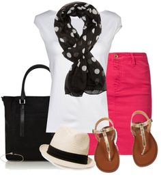 Pink pencil skirt, white tshirt, black and white polka dot scarf.