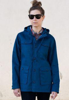 Bridge & Burn Castle jacket coat parka cargo blue cotton canvas Portlandia hooded M