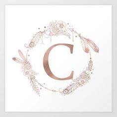 Letter G Rose Gold Pink Initial Monogram Art Print by Nature Magick - X-Small Monogram Pillows, Monogram Letters, Monogram Initials, Monogram Canvas, Framed Art Prints, Canvas Prints, Monogram Stickers, Rose Gold Pink, Diy Crafts