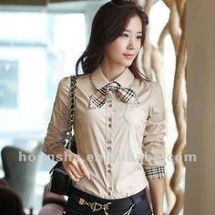 Buttons Cotton Blouse For Business Women Cute Blouses, Blouses For Women, Polo Outfit, Formal Tops, Spring Fashion 2017, Dress Neck Designs, Dress Making Patterns, Polo Shirt Women, Style Casual