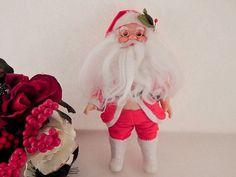 Santa Claus Doll Molded Plastic Faux Fur Figurine Christmas Decoration Vintage 1960's Retro Kitsch Baby Boomer Treasure