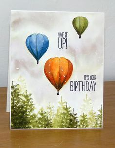 Hot Air Balloon Birthday card - above the trees.