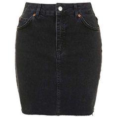 TopShop Moto High-Waisted Denim Skirt (51 AUD) ❤ liked on Polyvore featuring skirts, bottoms, faldas, high waisted skirts, high waisted knee length skirt, high waisted denim skirt, high-waisted skirts and pocket skirt