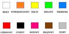 Polish vocabulary - Kolory / Colours Language Study, Learn A New Language, Polish Alphabet, Learn Polish, Polish Words, Polish Language, Grammar Rules, Polish Recipes, Teaching Kids