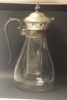 #books, textbook, school , college Ice tea / ice coffee Glass Carafe with Glass Ice Container Silver plated element withing our EBAY store at  http://stores.ebay.com/esquirestore