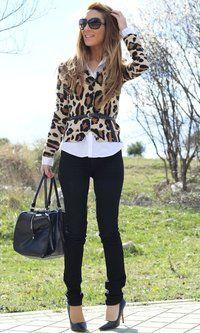 cardigan, chiffon button up top, black jeans, belt