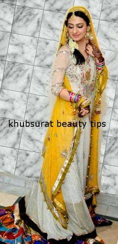 Khubsurat Beauty Tips: Beautiful Bridal Ubtan/Mehndi lehnga Dresses