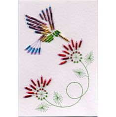 This is a Bead Hummingbird Stitching Cards pattern but it would work on fabric.
