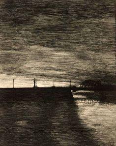Joseph Sattler (1867–1931),Die Eisenbahnbrücke. - Le Pont Dangereux. 1912.