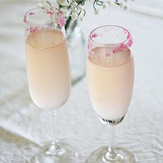 Pink champagne cocktails - Pink champagne, Limoncello and pink sugar.  Pretty and girly drinks for Christmas.