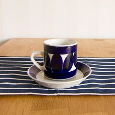 Arabia Finland Sotka Blue Cup & Saucer Set by by KuriosaEurope